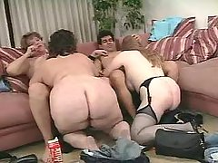 Three fatties and man in crazy orgy